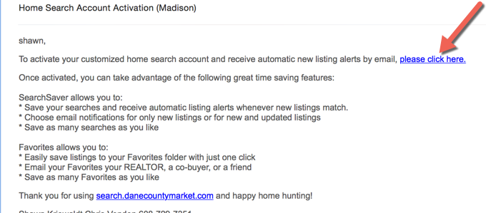 Account Activation email for DaneCountyMarket.com
