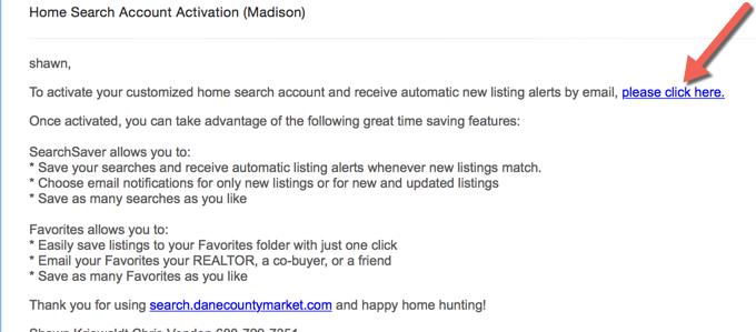 Account Activation email for DaneCountyMarket.com